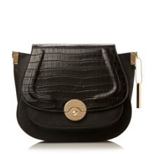 Delphine croc saddle bag