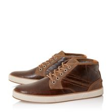 Scholesey mixed material lace up trainers