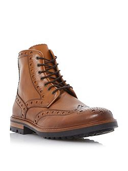 Cyrus leather lace up brogue boots