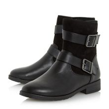 Ruckle double buckle calf boots