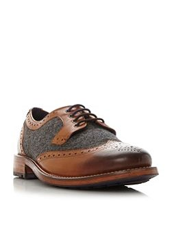 Cassius 3 leather and tweed brogue