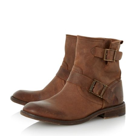 Dune Peddley washed leather ankle boots