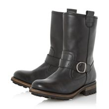 Roller fur lined buckle calf boots