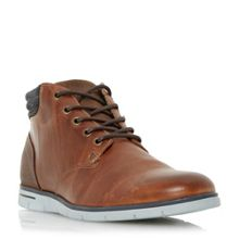 Dune Cane wedge sole leather lace up boots