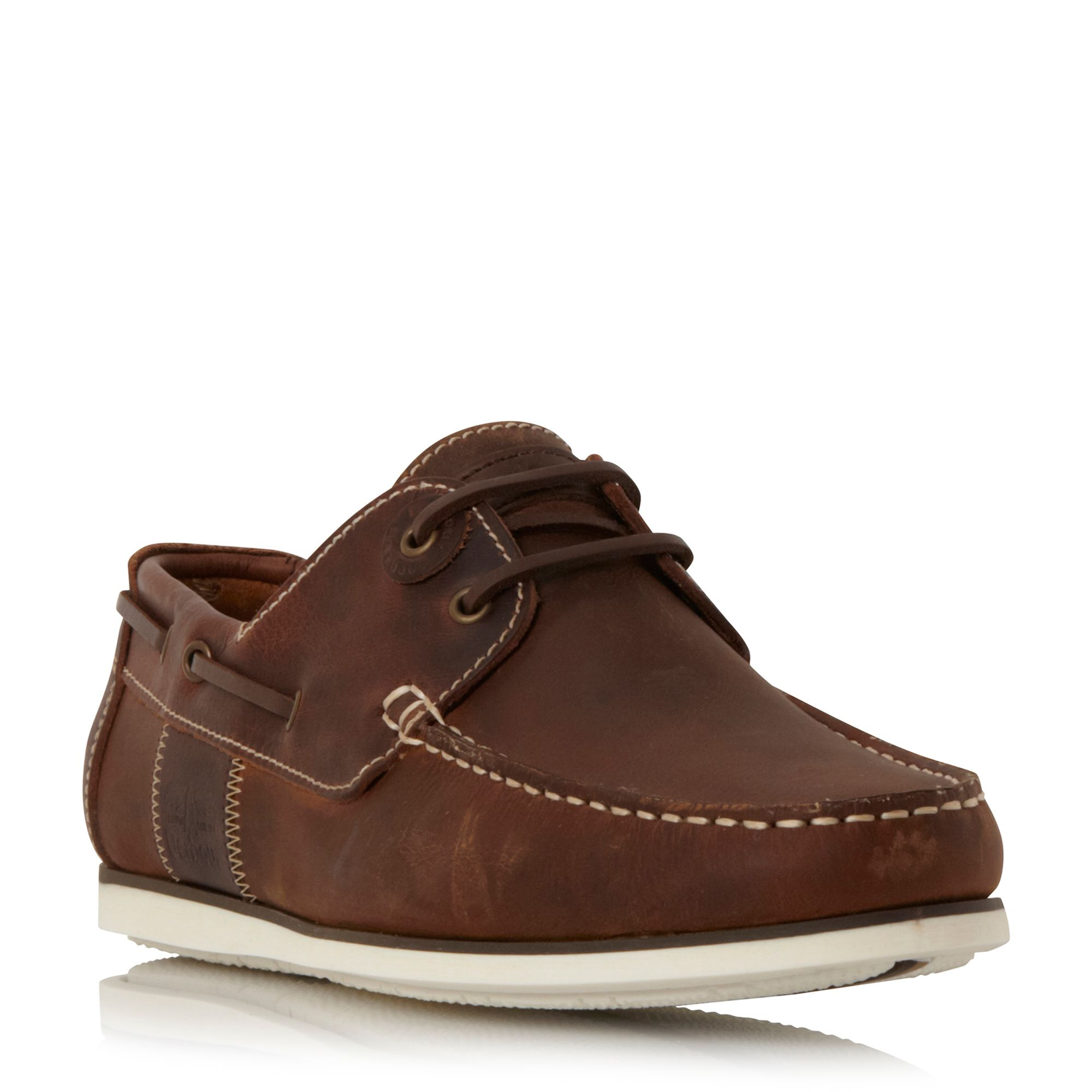 Barbour Capstan eyelet lace up boat shoes Beige