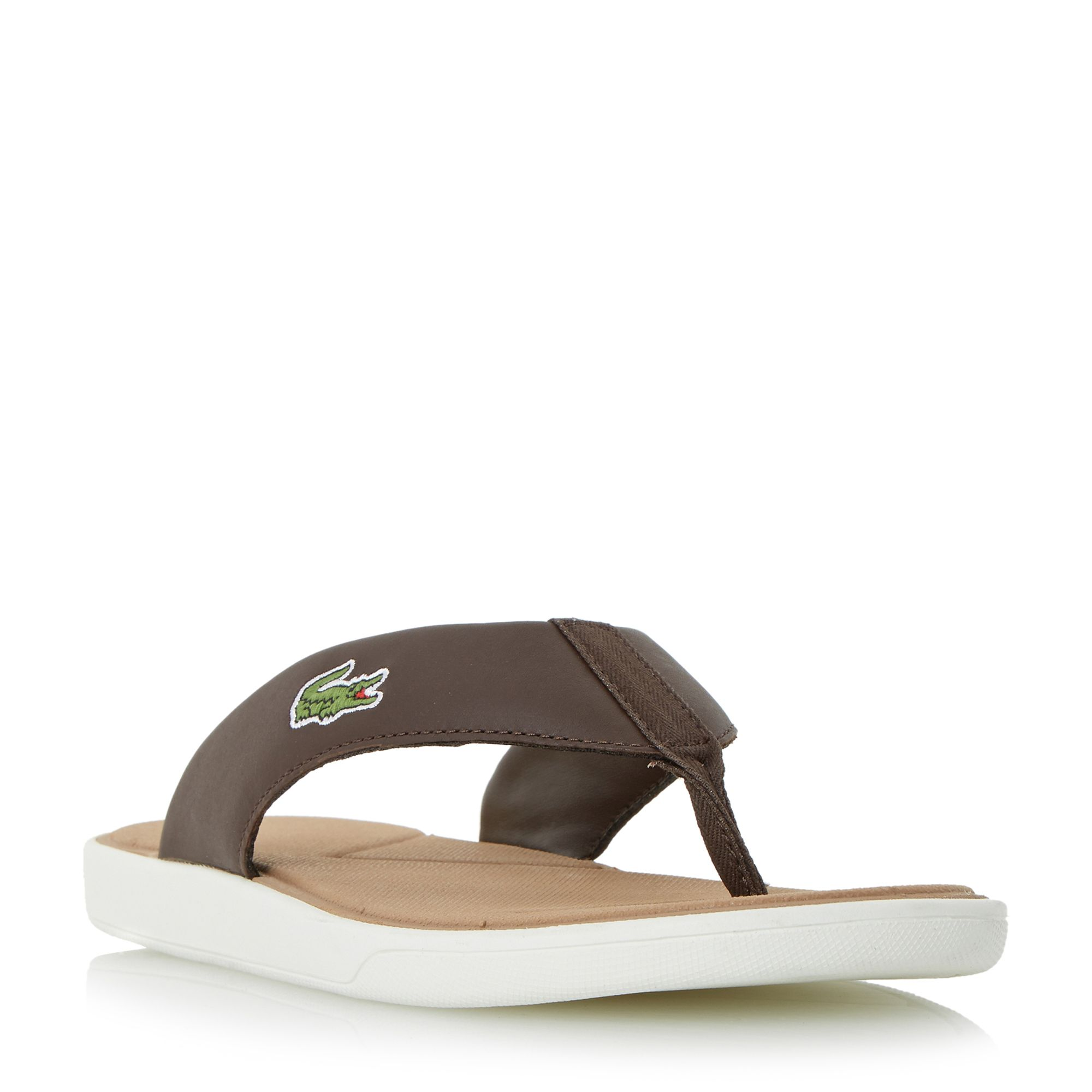 Men's Lacoste L.30 Leather Toe Post Flip Flops, Dark Brown
