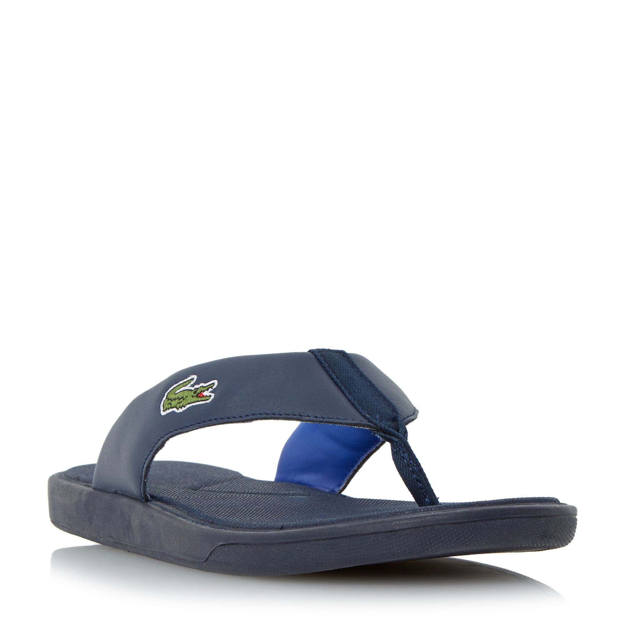 99d9a589ea245 Mens Lacoste L.30 Leather Toe Post Flip Flops Navy
