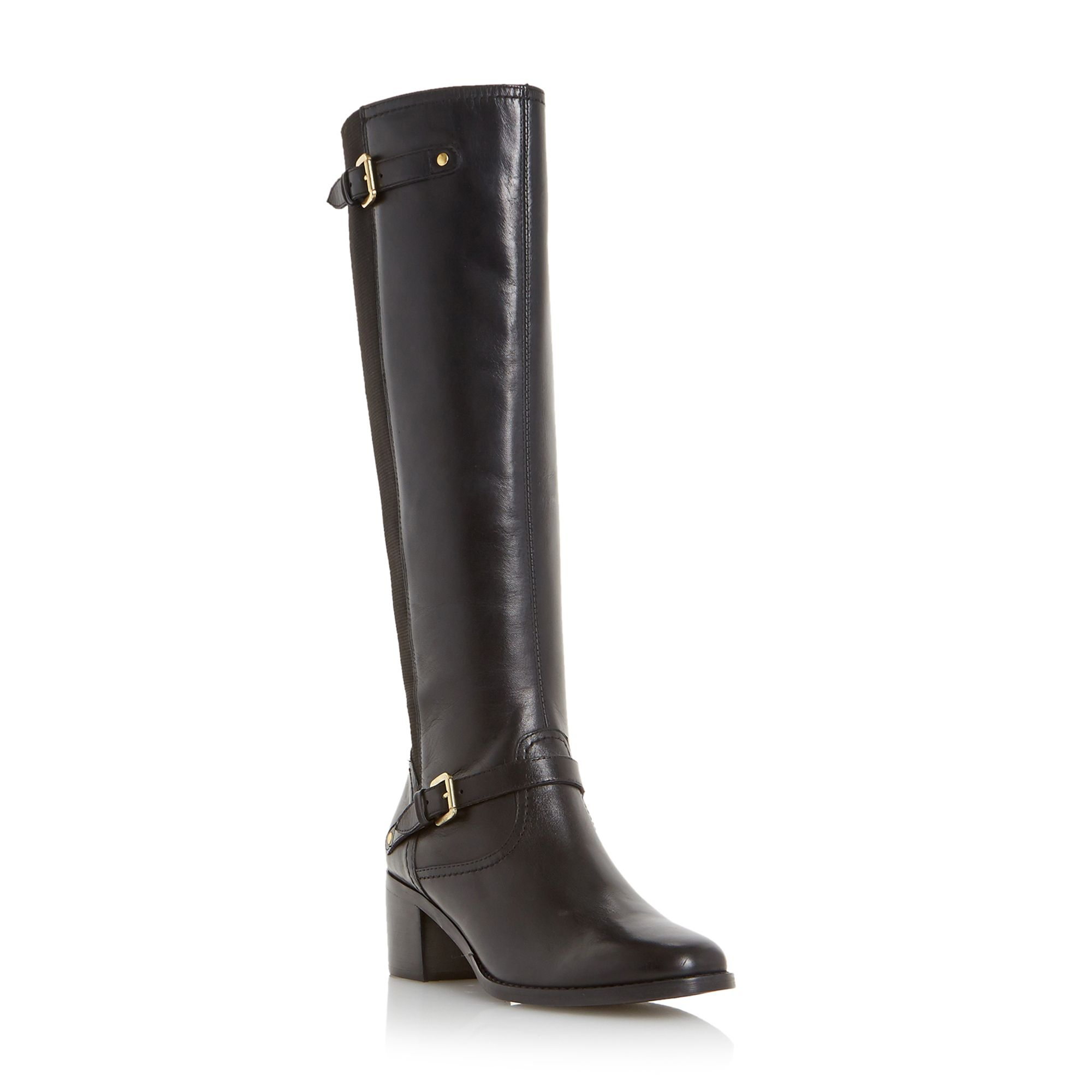 Dune Vivvi buckle knee high leather boots Black