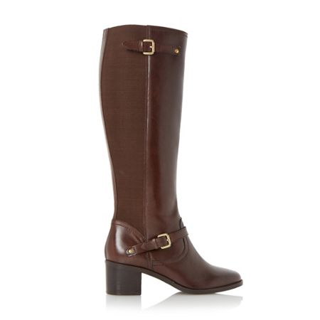dune vivvi buckle knee high leather boots brown house of