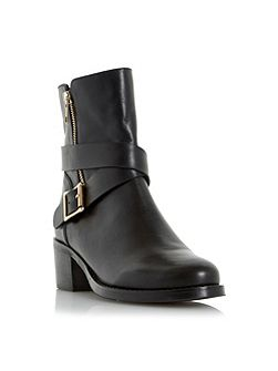 Rommie side zip and buckle detail boots