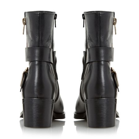 Dune Rommie side zip and buckle detail boots