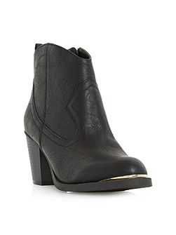 Paityn metal detail western ankle boots