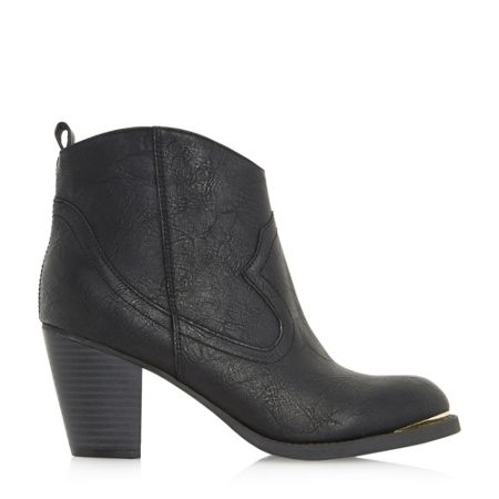 Head Over Heels Paityn metal detail western ankle boots