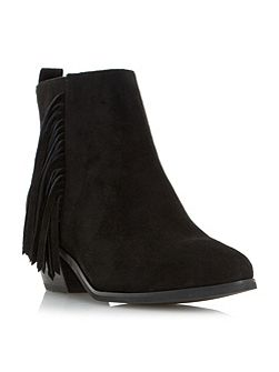 Petrela pointed toe fringe ankle boots
