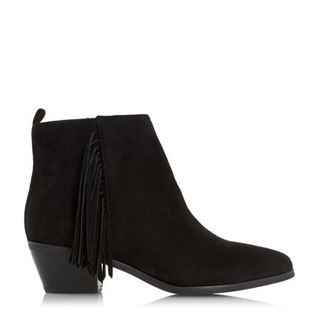 Head Over Heels Petrela pointed toe fringe ankle boots
