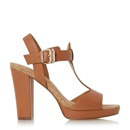 Dune Ismin cork detail t-bar sandals