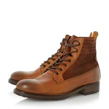 Dune Compass Contrast Panel Leather Boots