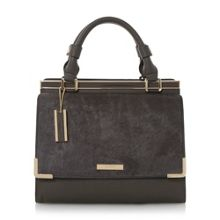 Daffie contrast flap over handle handbag