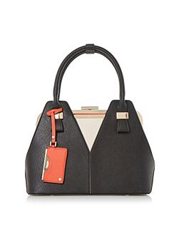 Dorah colour block frame detail handbag