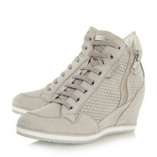 D illusion lace up sporty wedge trainers