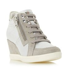 D eleni lace up sporty wedge trainers