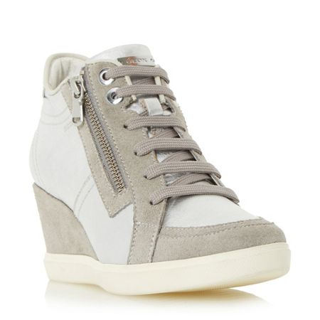 Geox D eleni lace up sporty wedge trainers