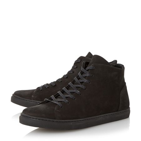 Dune Sawyer high top nubuck trainer