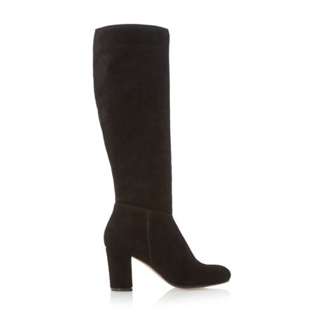 Dune Toulon knee high block heel suede boot