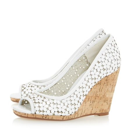 Dune Cassie floral peep toe wedge court shoes