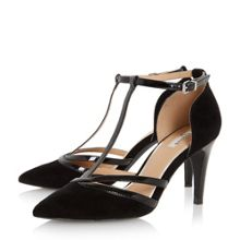 Clarice pointed toe t-bar court shoes