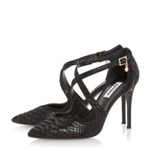 Dune Darcey pointed toe cross strap court shoe