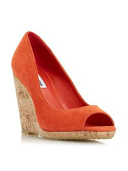 Charlotte peep toe wedge courts
