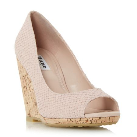 Dune Charlotte cork effect wedge court shoes