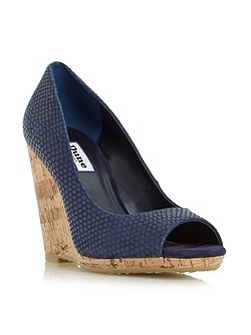 Charlotte cork effect wedge court shoes