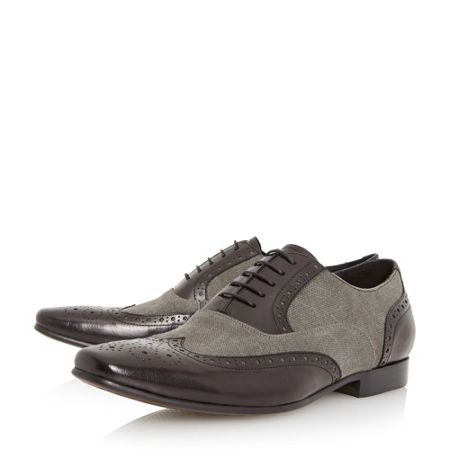 Dune Raymond Combo Canvas and Leather Brogue Shoes