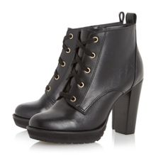Onslow stacked high heel lace up ankle boot