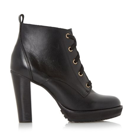 Dune Onslow stacked high heel lace up ankle boot