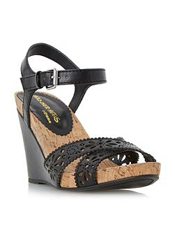 Kamilla laser cut cross over wedges