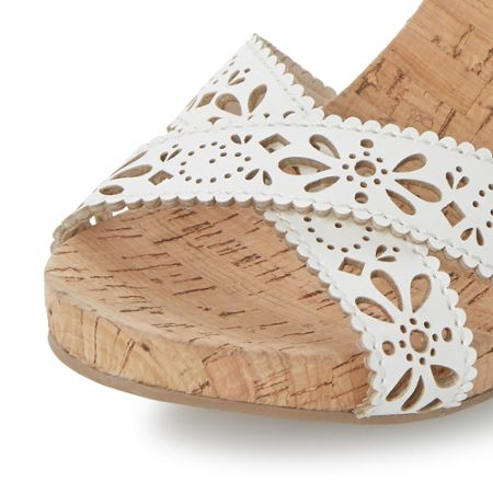 Head Over Heels Kamilla laser cut cross over wedges