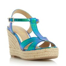 Head Over Heels Klover metallic t bar wedge sandals