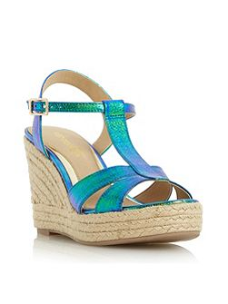 Klover metallic t bar wedge sandals