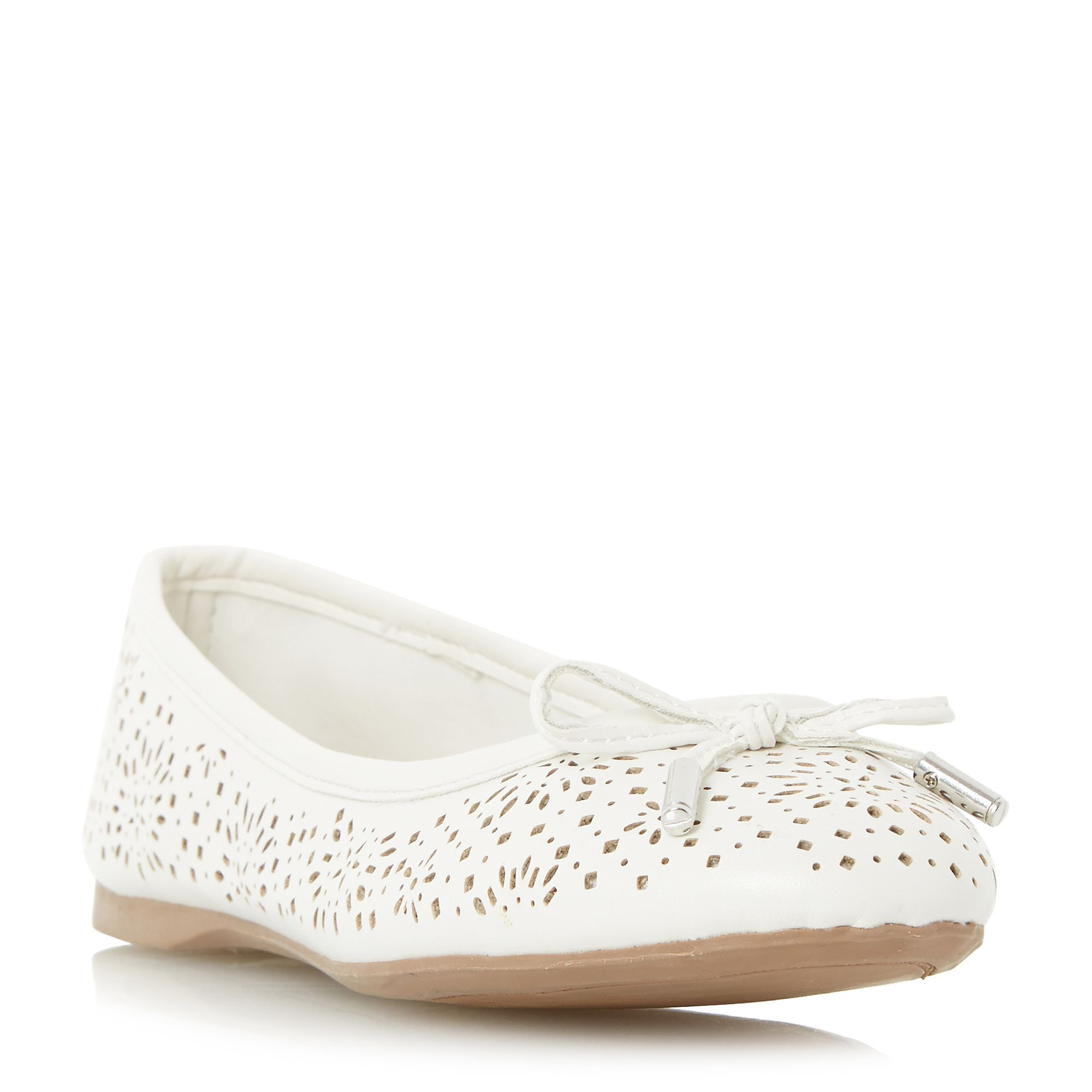 Head Over Heels Harlone laser cut bow ballerina shoes White £28.00 AT vintagedancer.com