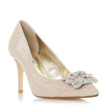 Dune Betti jewelled brooch detail court shoes