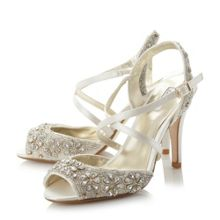 Molana embellished cross strap high heel sandals