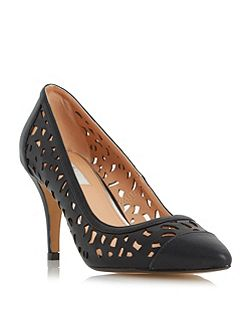 Amarose laser cut pointed toe court shoes