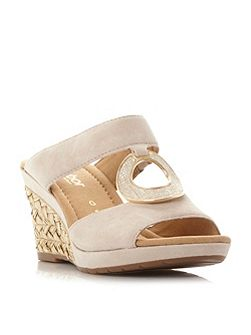 Sizzle t - bar embellished wedge sandals