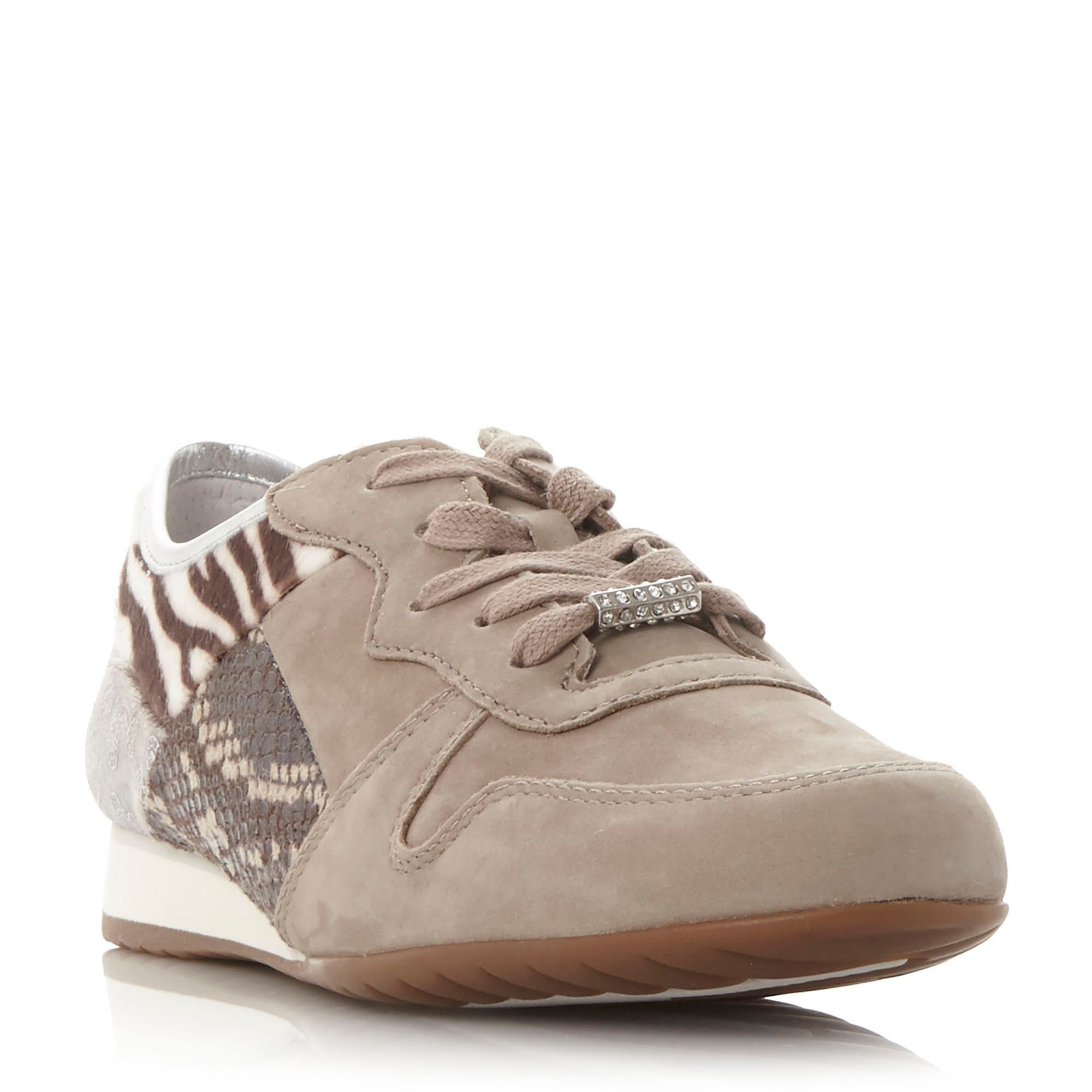 Gabor Haddaway multi fabric lace up shoes, White