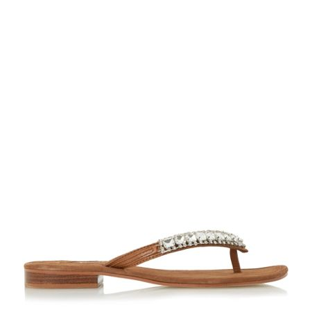 Dune Nevah diamante toe post flat sandals
