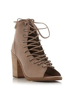 Tempting lace up peep toe shoes