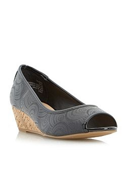 Capulet cork wedge peep toe court shoes